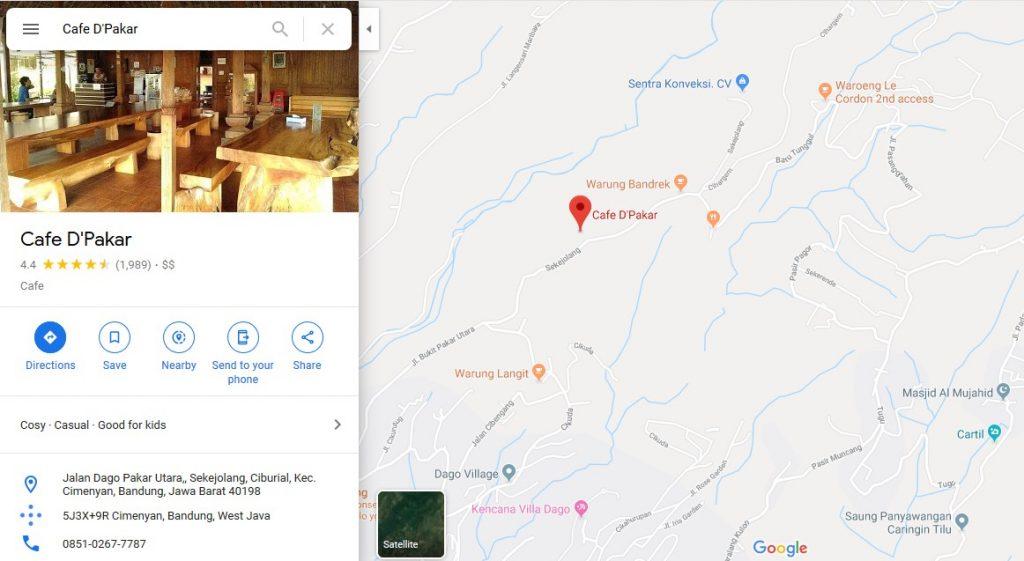Lokasi Cafe D'pakar Dago