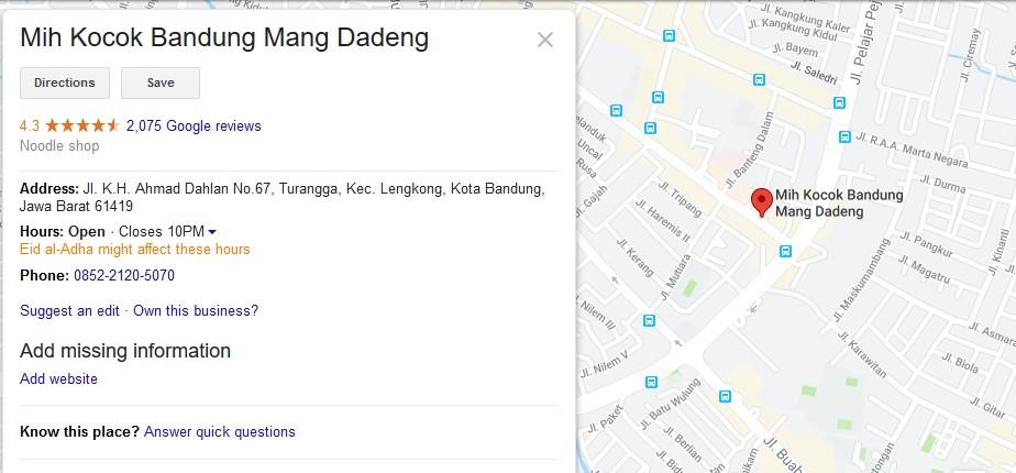 Lokasi Mie Kocok Mang Dedeng
