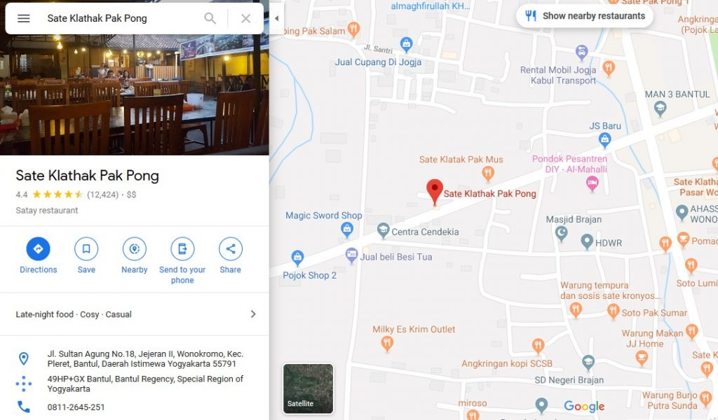 Lokasi Sate Klathak Pak Pong