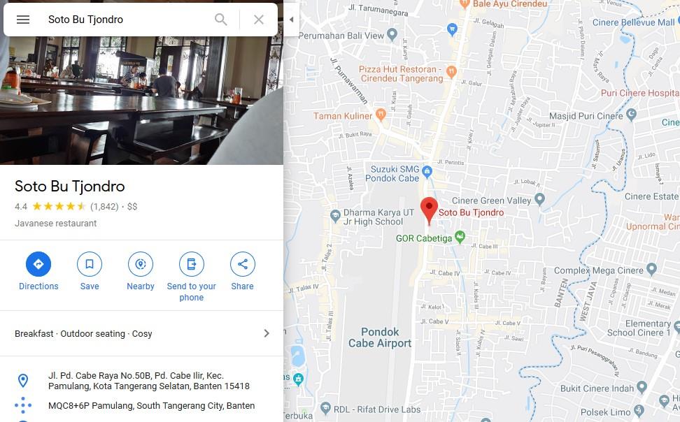 Maps Lokasi Soto Bu Tjondro Pamulang